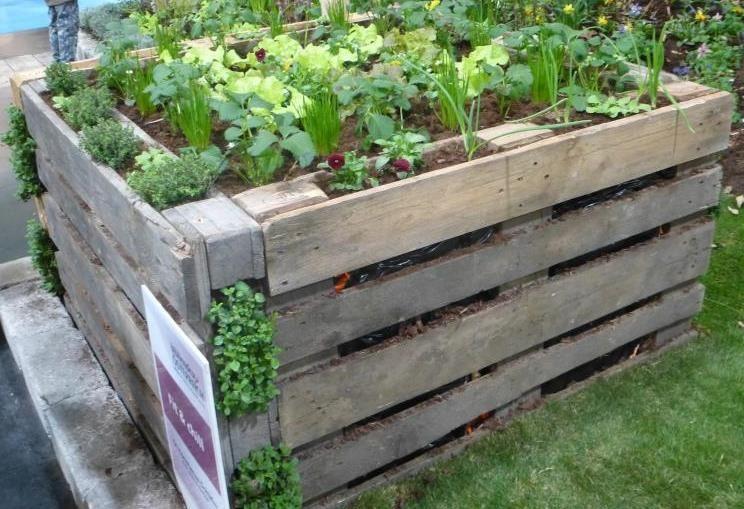 Potager sureleve avec palette en bois de recuperation jardin for Jardin potager bois