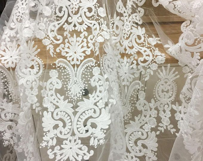 Ivory Lace Fabric , Retro Embroidered Lace Fabric, French Lace ...