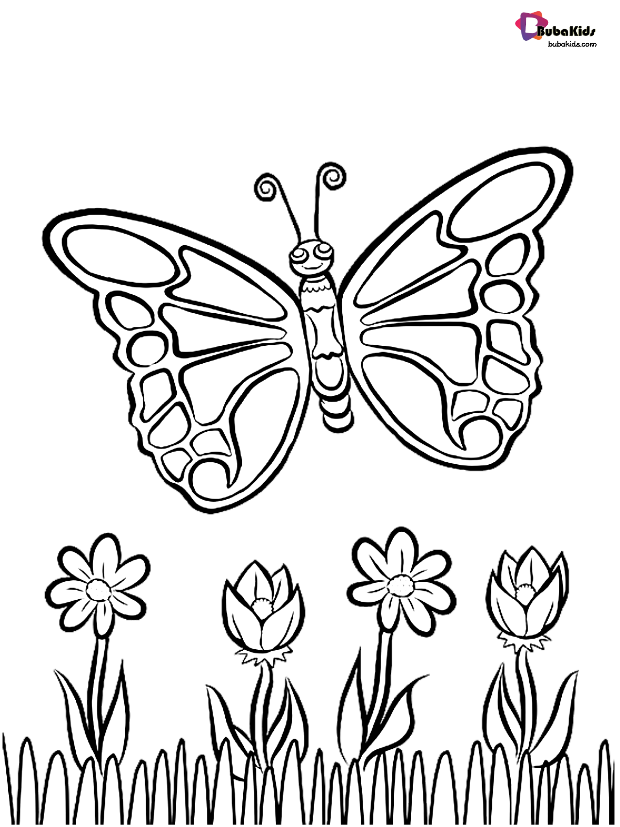 Butterfly Over Flowers Coloring Page Coloring Com Butterfly Coloring Page Spring Coloring Pages Flower Coloring Sheets