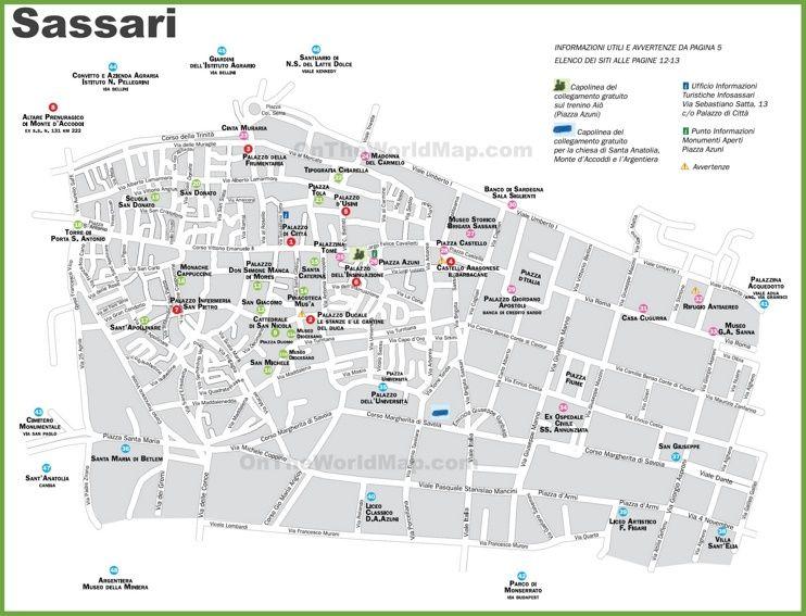 Sassari tourist map Maps Pinterest Tourist map Italy and City