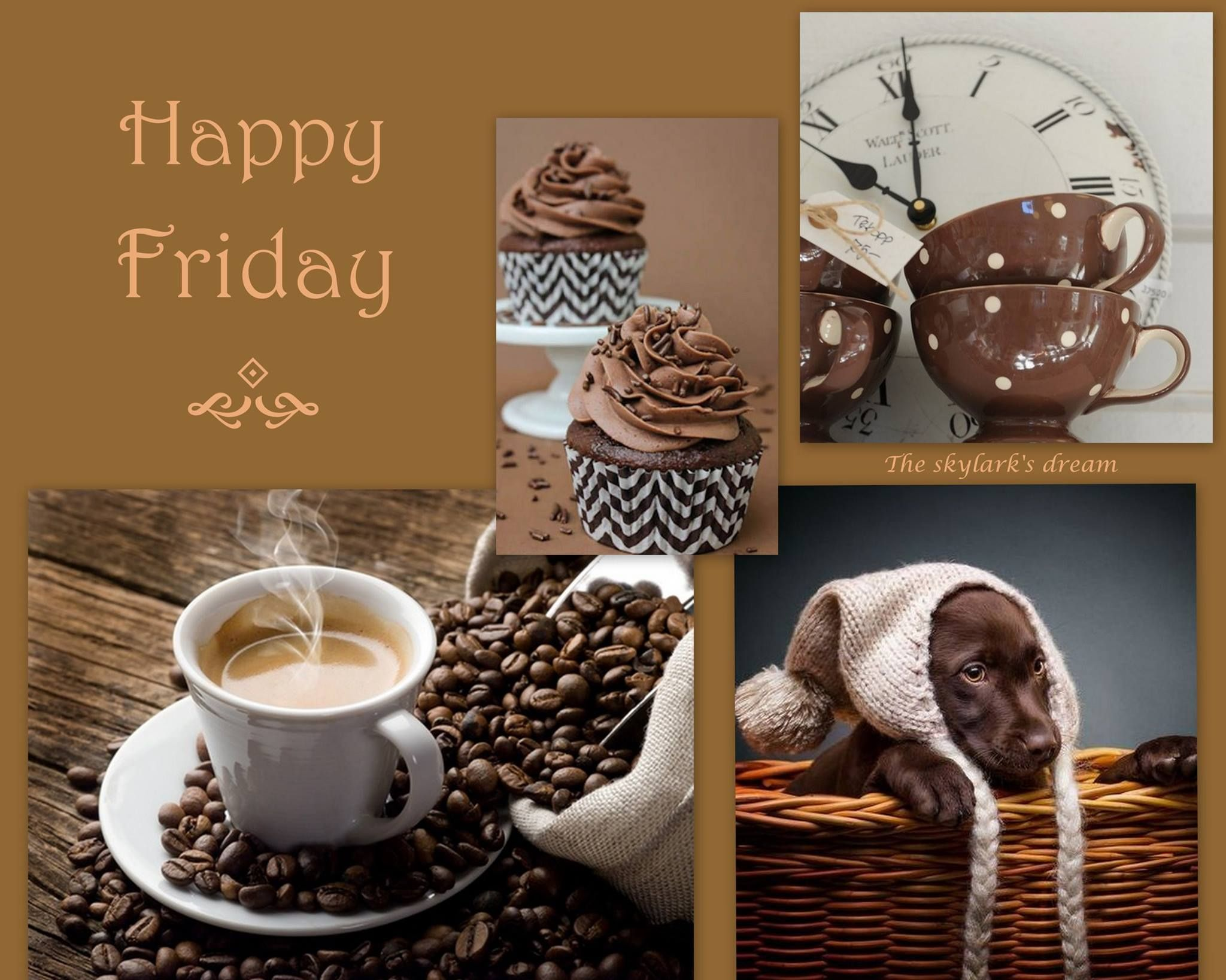 Coffee Puppy Dream Collage Collage Happy Friday