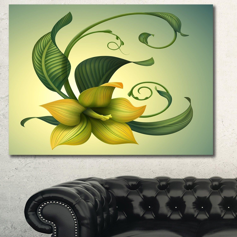 Designart 'Yellow Fantasy Flower' Modern Floral Canvas Art