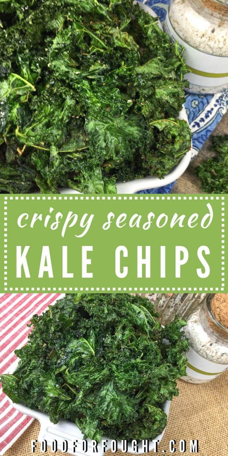 Crispy Seasoned Kale Chips Recipe Kale Chips Kale Chip Recipes Homemade Kale Chips