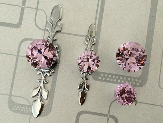 Pink Glass Dresser Knob Pull Crystal Drawer Knobs Pulls Handle ...