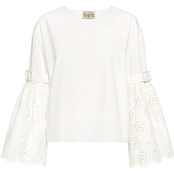 Sea - Eyelet Embroidery Belted Bell Sleeve Top (€275) ❤ liked on Polyvore featuring tops, relaxed fit tops, bell sleeve tops, embroidered top, scallop edge top and grommet top
