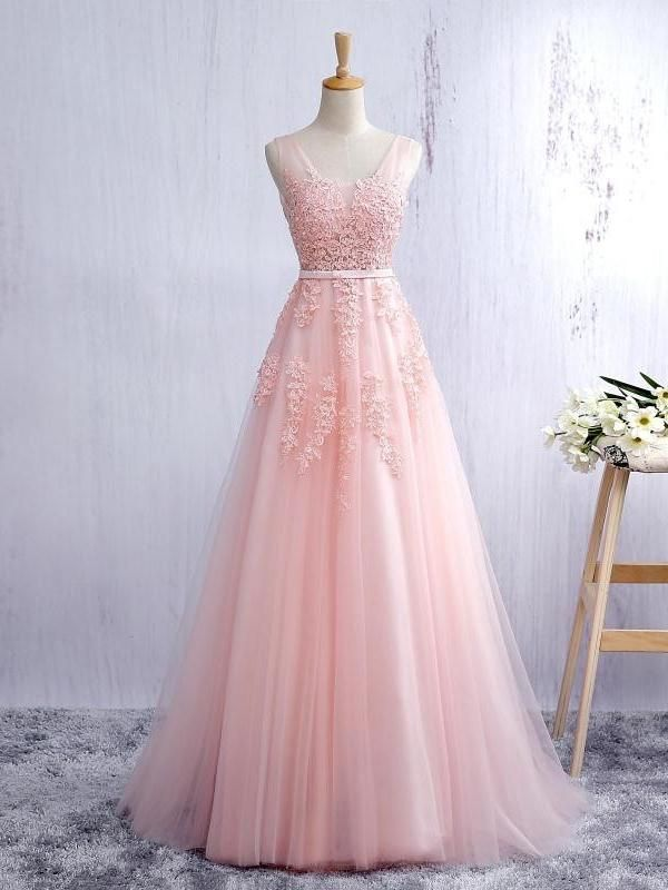 Sexy Prom Dresses Straps A-line Short Train Pearl Pink Tulle Prom ...