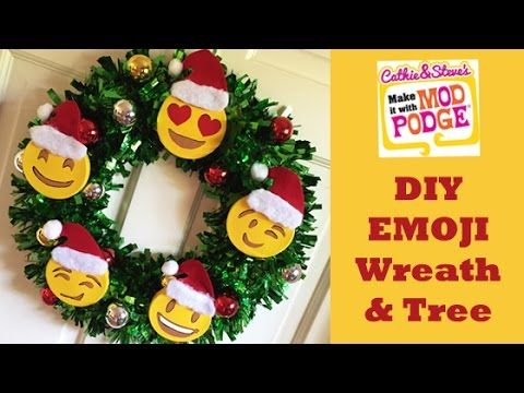 Diy Emoji Wreath And Tree With Cathie And Steve Emoji Christmas Tree Emoji Christmas Christmas Crafts Decorations