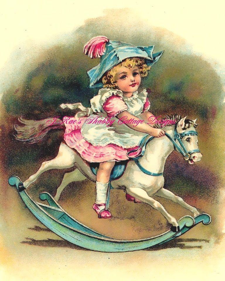 Precious Vintage Print REPRO Little Girl on Rocking Horse Fabric Block 5x7