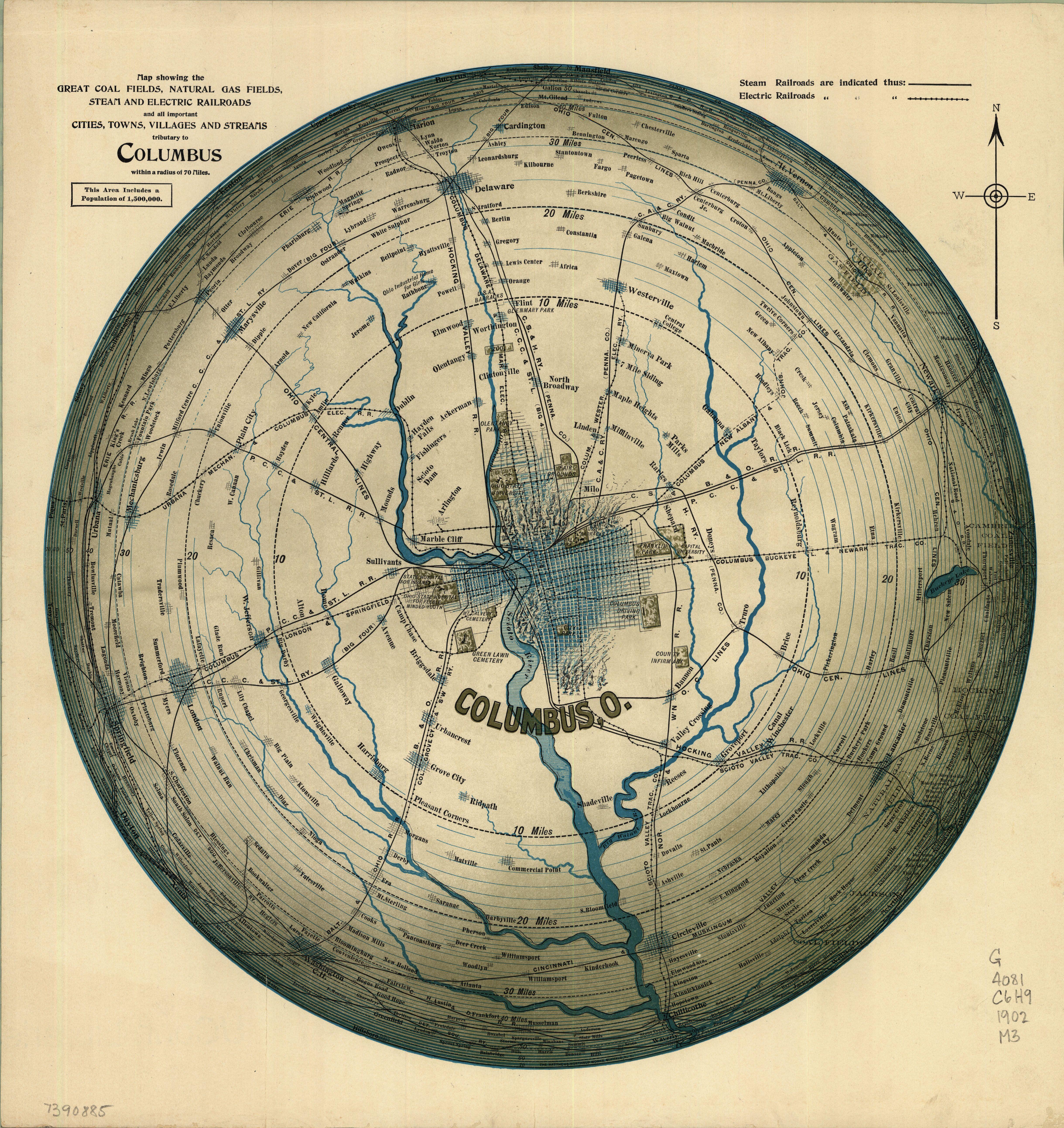 Map of the area surrounding Columbus, Ohio, 1902. (With no apologies to Saul Steinberg.)