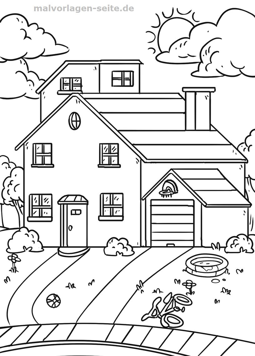 Ausmalbild Haus Mit Garten Fur Jeden Geschmack Von Malvorlage Haus Mit Garten Easy Sketches For Beginners Art Drawings For Kids Art Drawings Sketches Simple