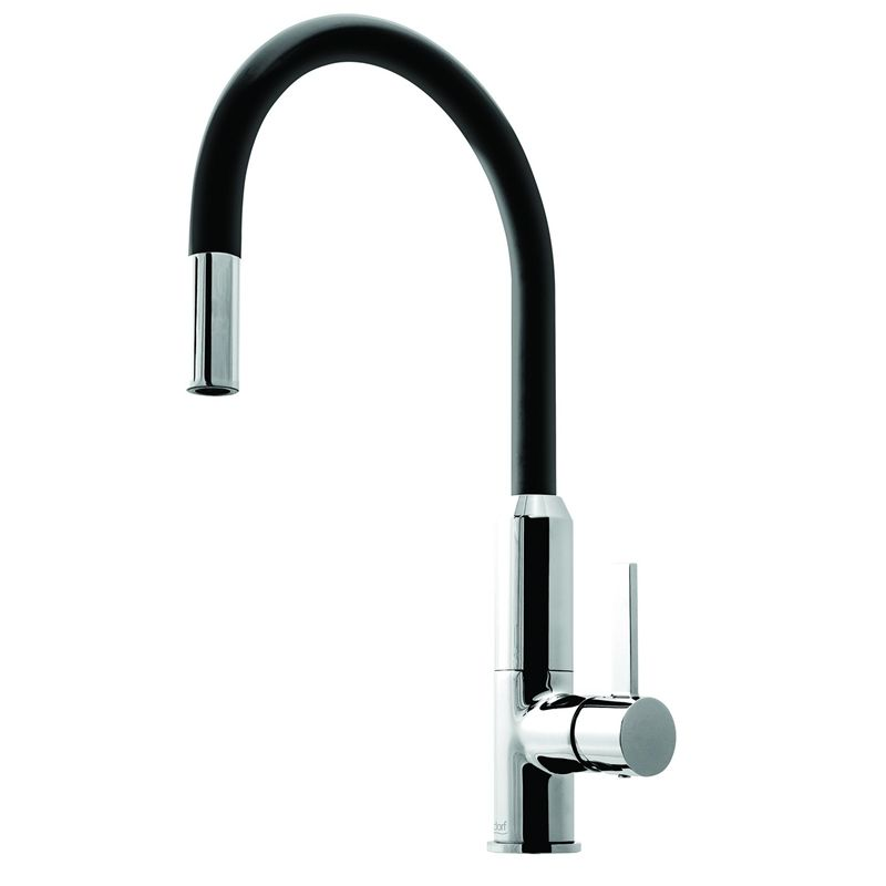 Bunnings  310  blk chrome or white chrome Dorf Vixen Black Retractable Sink  Mixer. Bunnings  310  blk chrome or white chrome Dorf Vixen Black