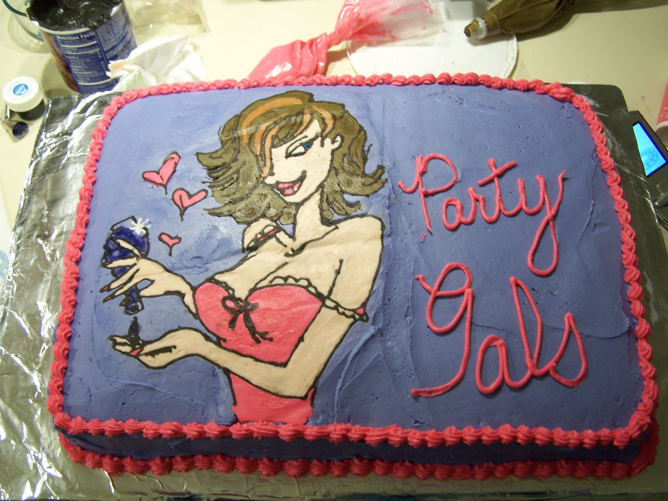 Party Gals' Party Cake - I transfered the girl off of the invatation using the frozen buttercream method.  This is the greatest method ever.  Kudos to whoever invented it!!!