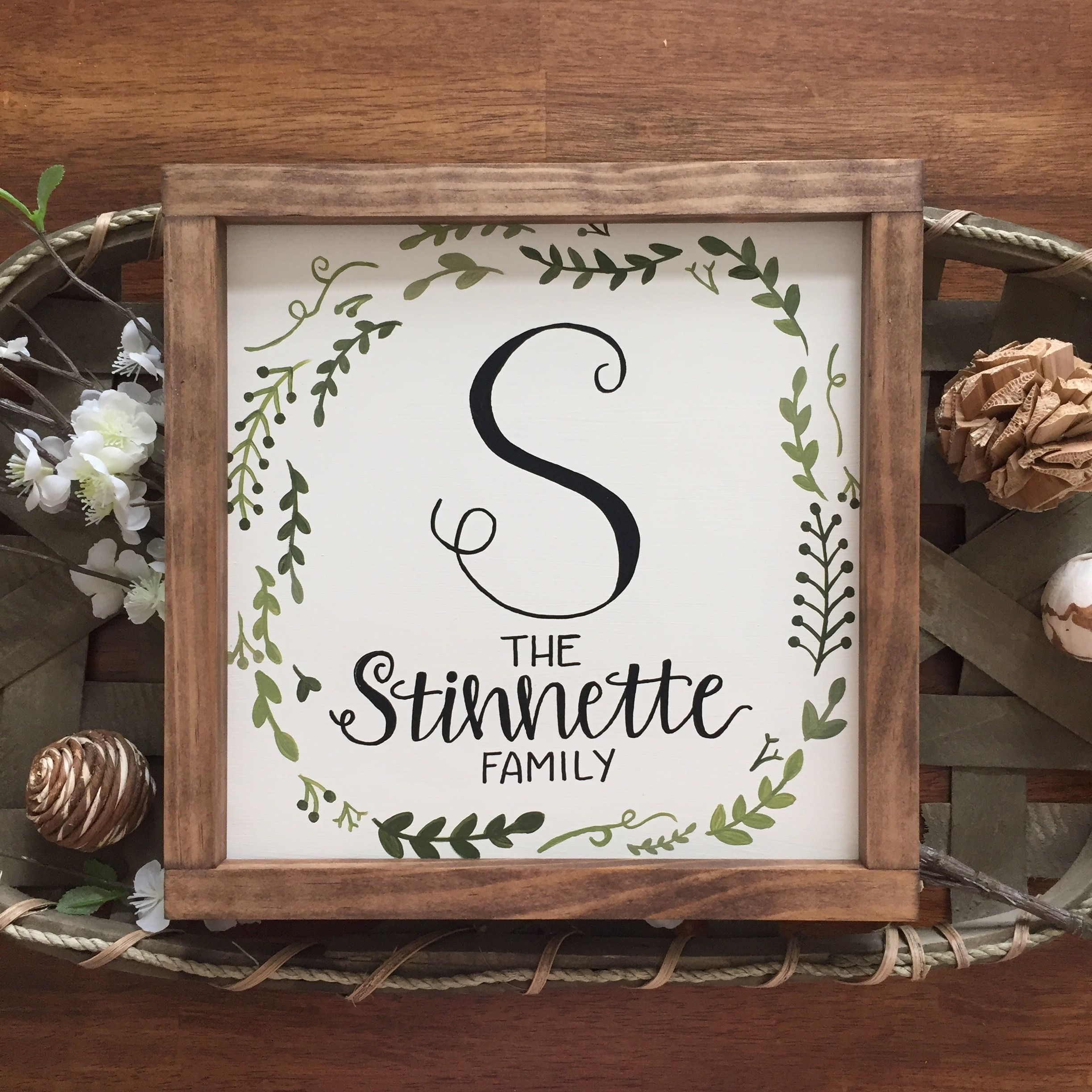 Family name sign, last name sign, hand painted wreath, wood framed ...