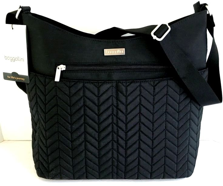 79b240517c BAGGALLINI Hobo Crossbody Shoulder Bag Black Nylon Quilt Front Lightweight  NEW  Baggallini  MessengerCrossBodyHoboCrossbodyShoulderBag