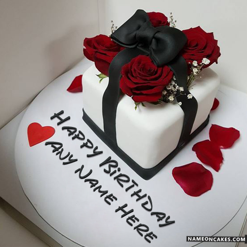 Romantic Decorated Red Roses Birthday Cake With Name