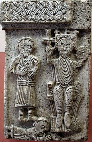 King relief. A Croatian king relief, now in the baptistry of Sv. Duje cathedral in Split, XI century.