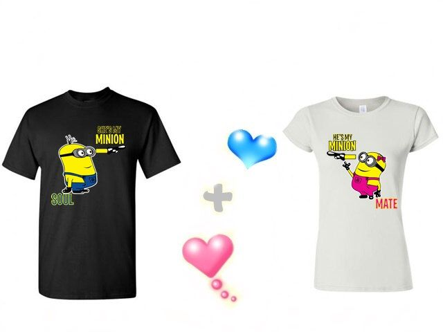 4935d4e034 He's My Minion She's My Minion Matching Couples shirts in a Black for Men  and White