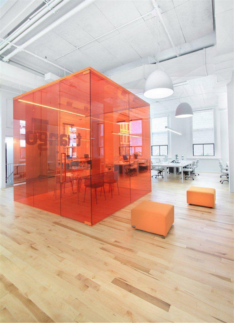 Colored glass meeting room tuango montr al canada - Interior design office space ...