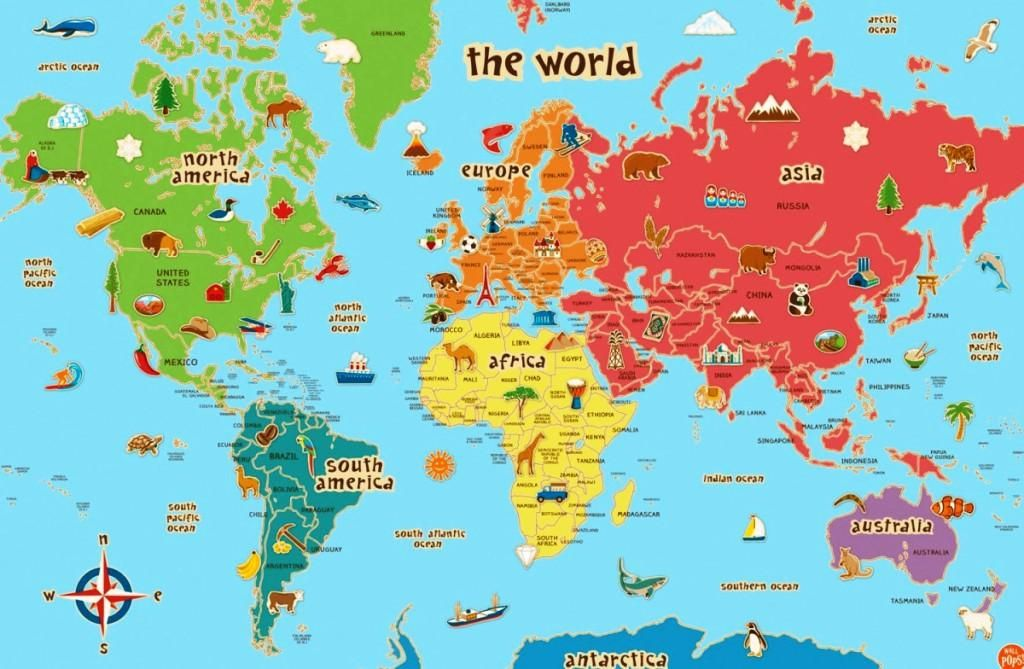 Cute World Map Picture Cute World Map Wall Decal Kids Nursery