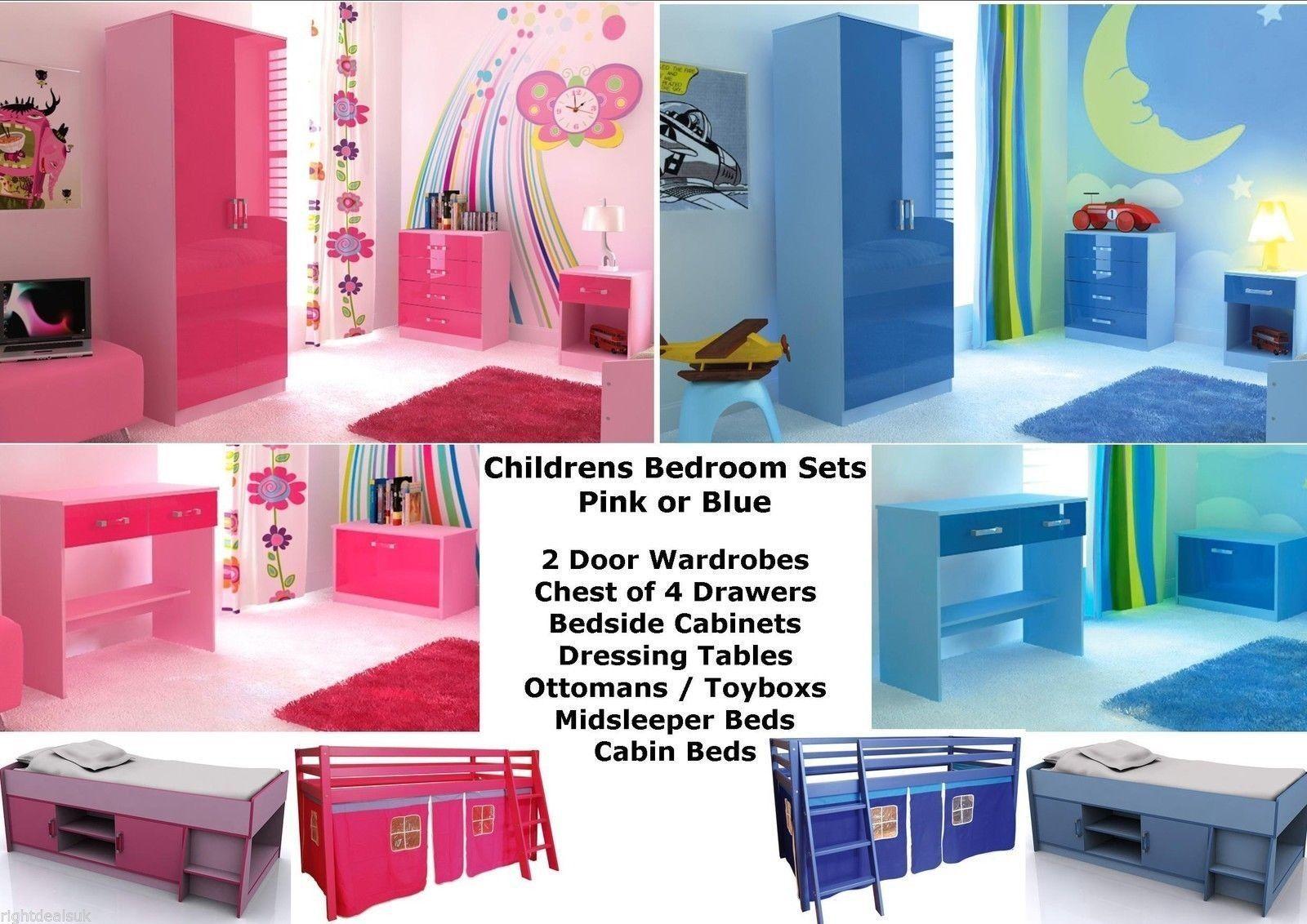 Pink Or Blue Two Tone Ultra High Gloss Girls Boys Caspian Bedroom Furniture Sets Ebay Bedroom Furniture Sets Pink Blue High Gloss
