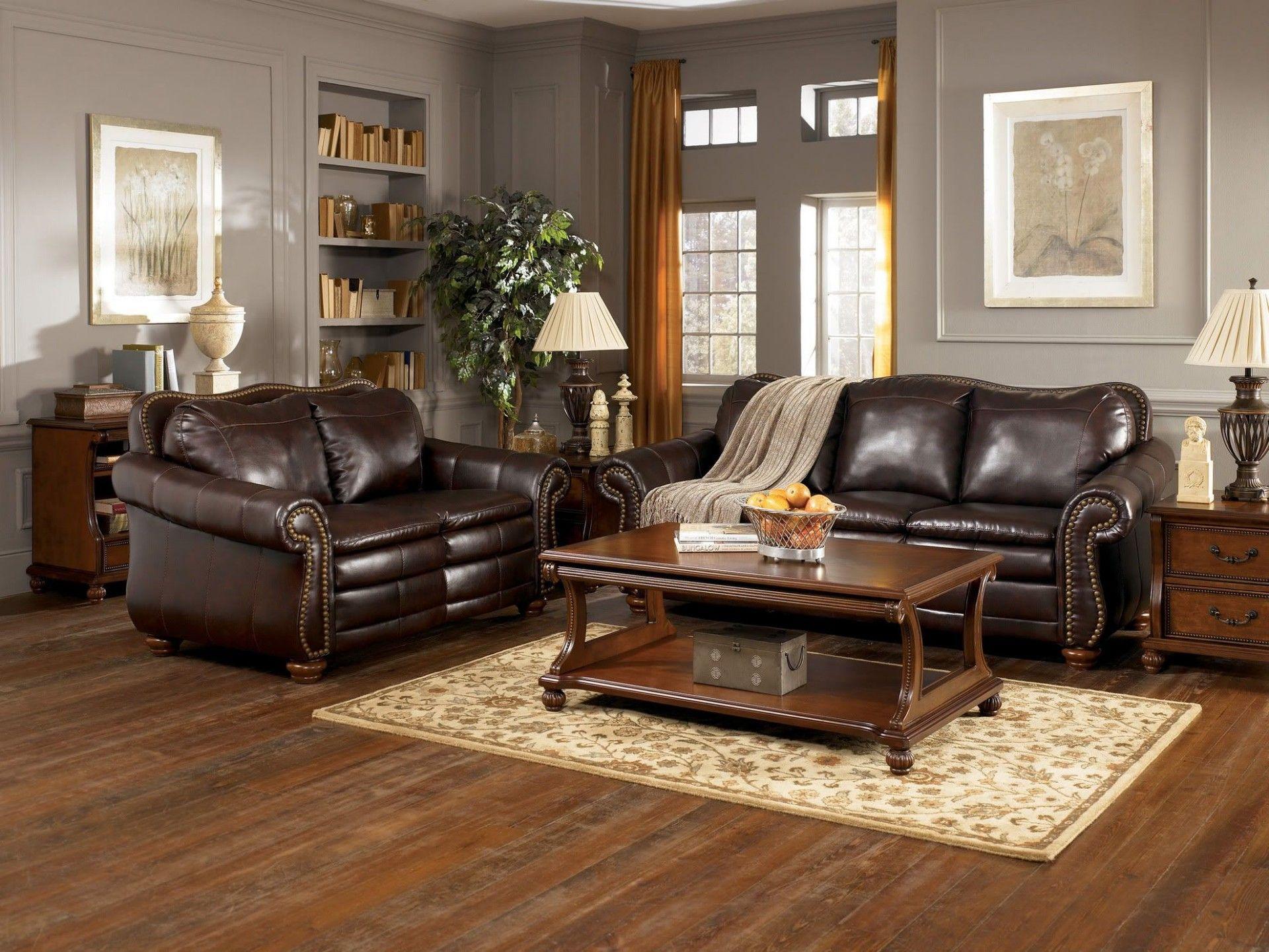 Living Room Grey Walls Brown Furniture