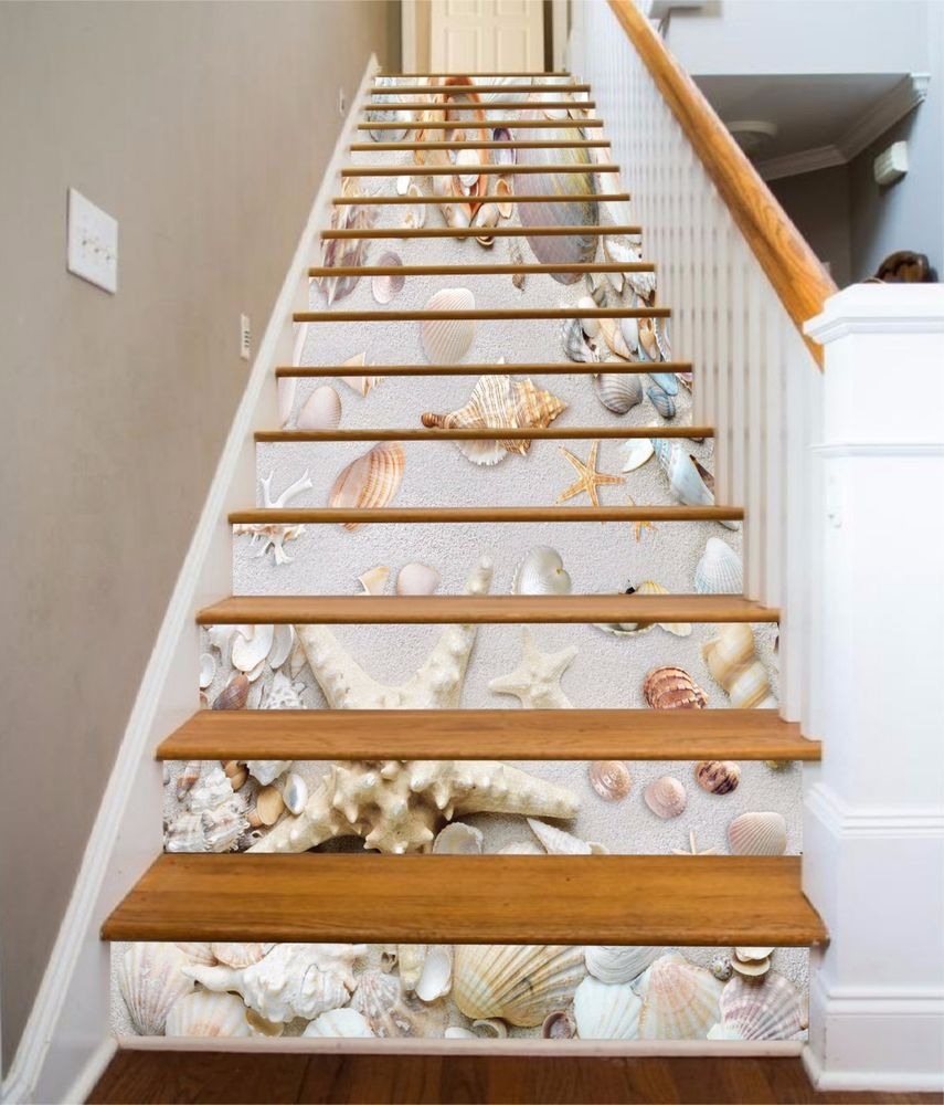 3D Beach Shells 13 Stairs Risers Decoration Photo Mural Vinyl Decal  Wallpaper US | Home U0026