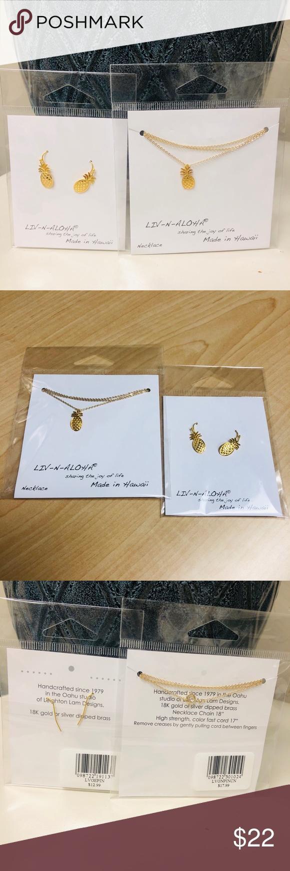 Liv N Aloha Pineapple Jewelry Set New Pineapple Jewelry Beautiful Earrings Jewelry Set