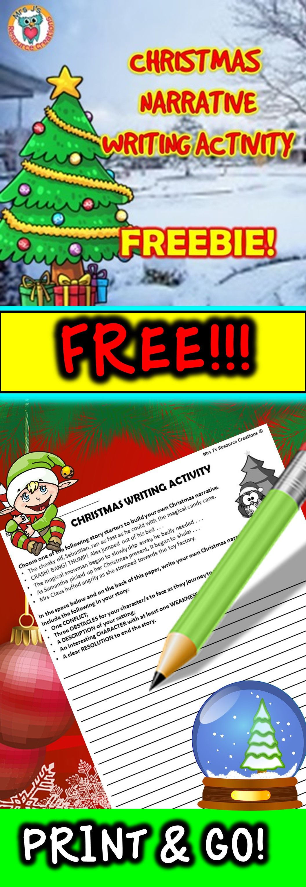 Christmas Free Writing Activity Five Fun Prompts On One