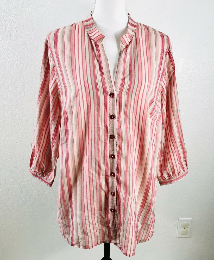 fdaff2f23f925b JH Collectibles Blouse Women's Plus Size 1X Stripe Button Down 3/4 Sleeve  Pink | eBay
