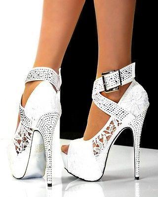 f508f0a1cb87 Ladies womens sexy white lace hidden platform 6 inch high heel peep ...