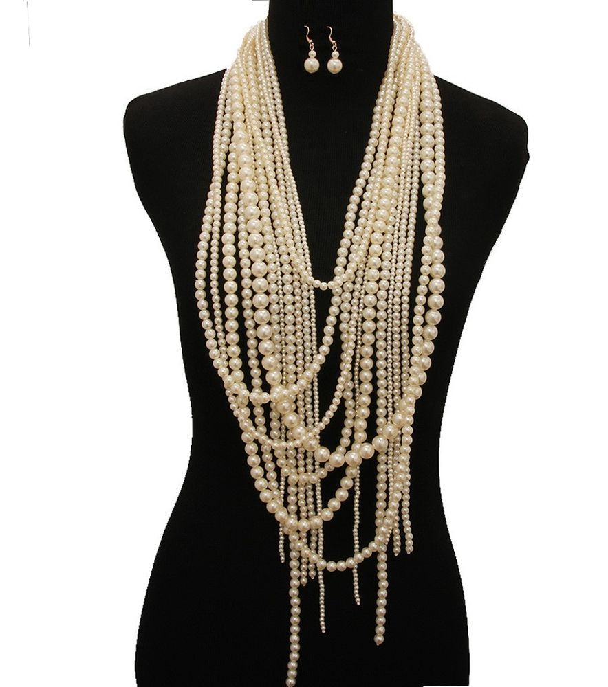 Cream Multi Strand Pearl Necklace Earrings Set Super Long Pearl Strand  Necklace
