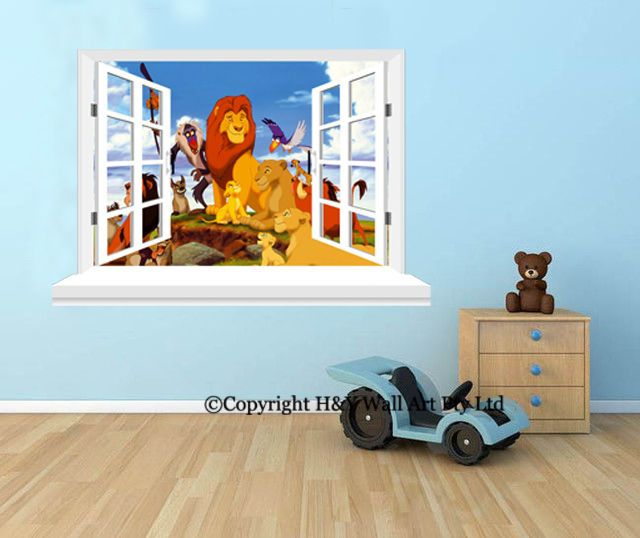 Lion King 3D Window Wall View Stickers Kids Art Mural Kids Nursery Wall  Decal AU