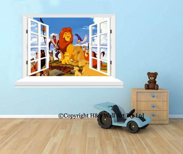 Lion King D Window Wall View Stickers Kids Art Mural Kids Nursery - Lion king nursery wall decals