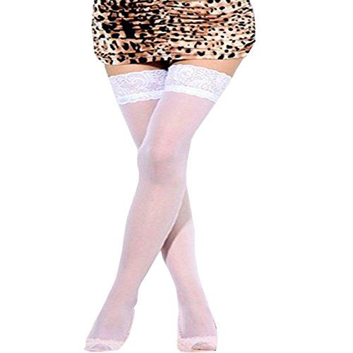 womens plussize shimmers ultra sheer silicone lace top thigh high