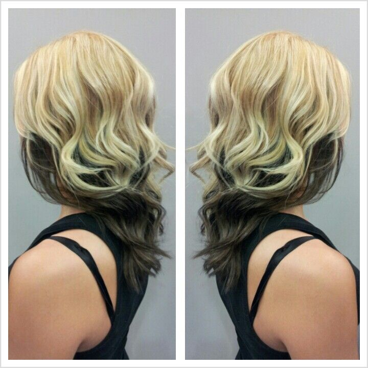 Partial blonde highlight with an all over blonde color and dark ...
