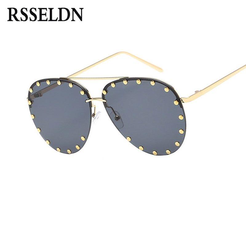 efcea6e447 RSSELDN Fashion Pilot Sunglasses Women Summer Green Pink Gradient Sun  Glasses For Women Men Sunglass UV400 Metal oculos de sol