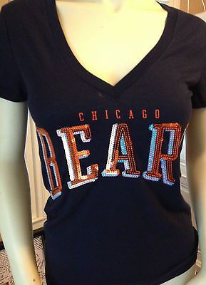 bddfb03b NFL Chicago Bears Sequins Bling Blue V-Cut Tee | Women NFL wear ...