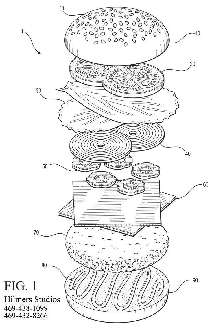 Exploded axonometric of a hamburger Cute food drawings