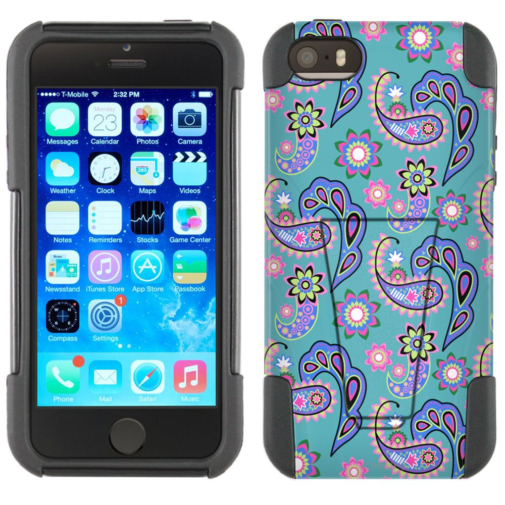Apple iPhone 5 Hybrid Stand Case - Paisley Pastel on Teal