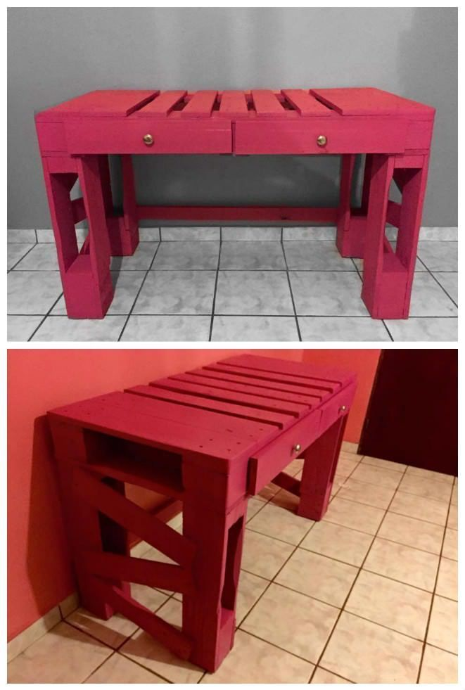 Desk With Two Drawers Made Out Of Repurposed Wooden Pallets And Painted  With A Bright Pink