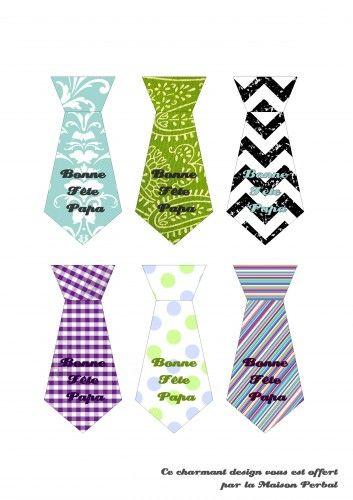 Imprimables cravates tiquettes fete des peres idees - Carte fete des peres a imprimer ...