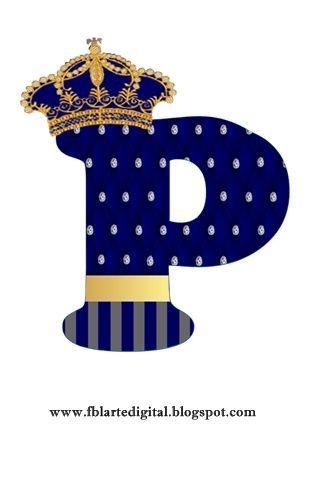 Alfabeto Personalizado Com Tema Realeza Azul Marinho Festas