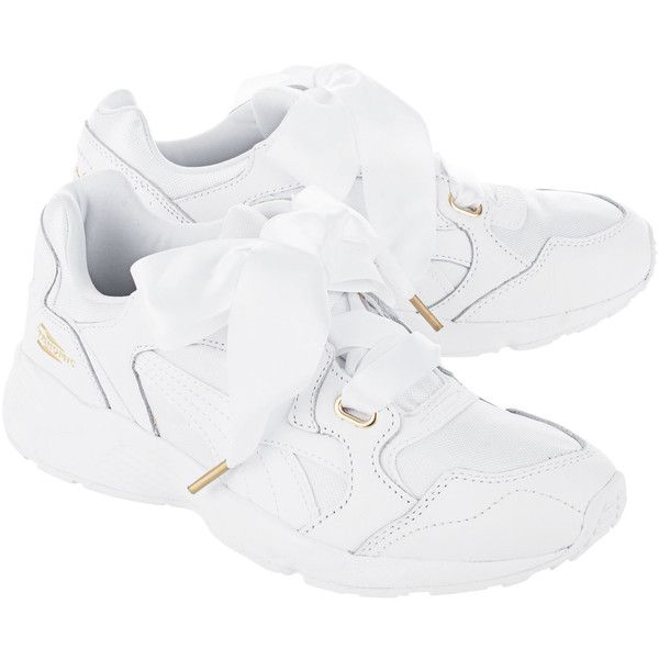 0f07d8c1144 PUMA Prevail Heart White // Sneakers with oversize satin bow (€110) ❤ liked  on Polyvore featuring shoes, sneakers, leather trainers, shock absorbing  shoes, ...