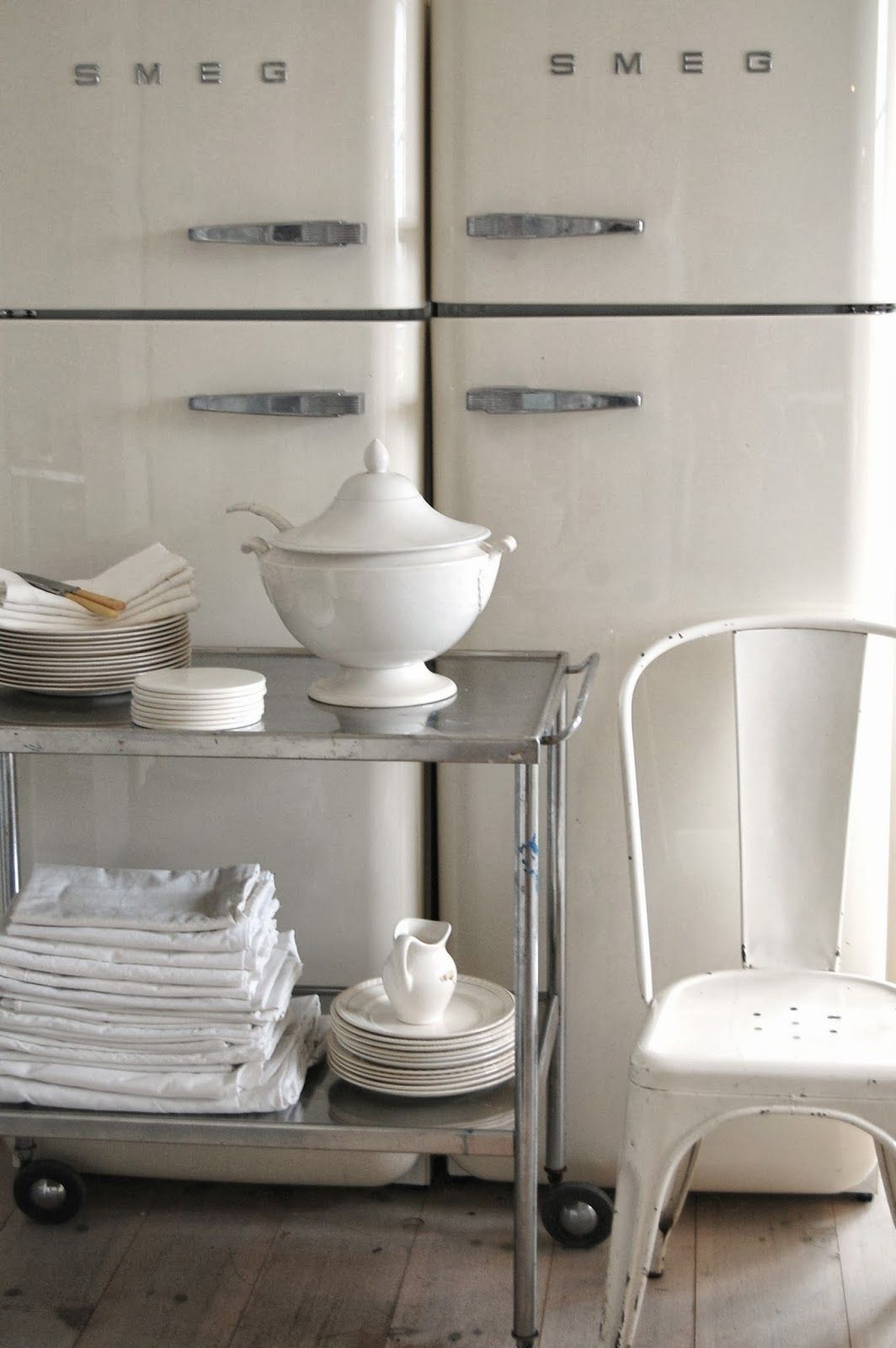 Smeg Off White Vintage Metal Chair Tolix And Old Metal Kitchen