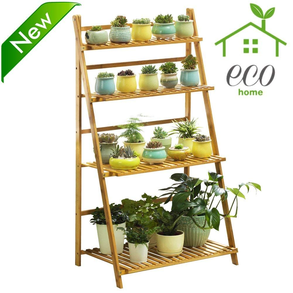 Bamboo 4 Tier Plant Stand Planter Shelves Plant Shelves Pot Organization Garden Shelves