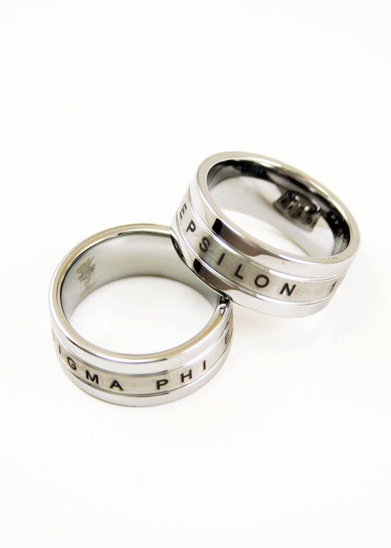 Sigma Alpha Epsilon Tungsten ring w//brush finish center