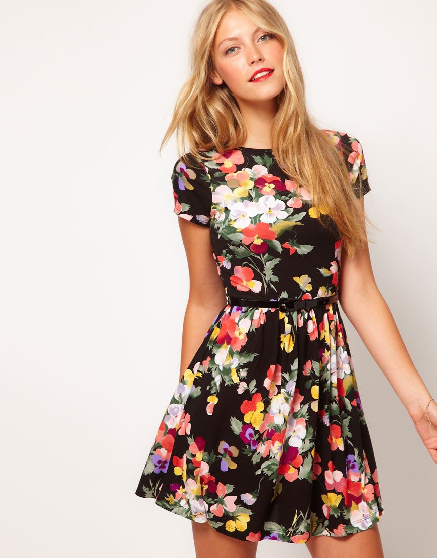 Skater Dress In Large Fl Print By Asos
