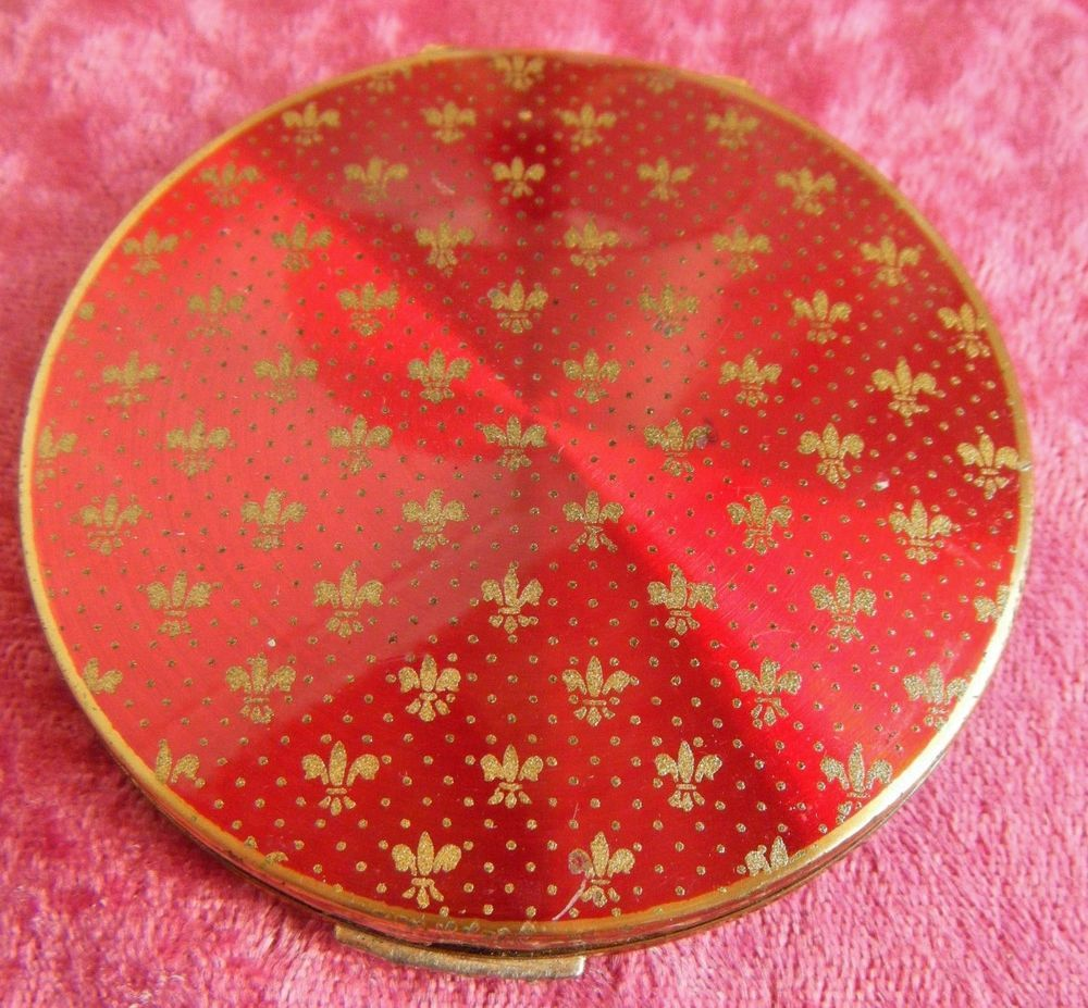 STRATTON Gold Gilt & Red Enamel Compact -1950's