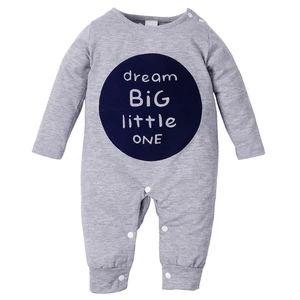 Cute Newborn Toddler Kids Baby Letter Printed Outfits Clothes Romper Jumpsuit