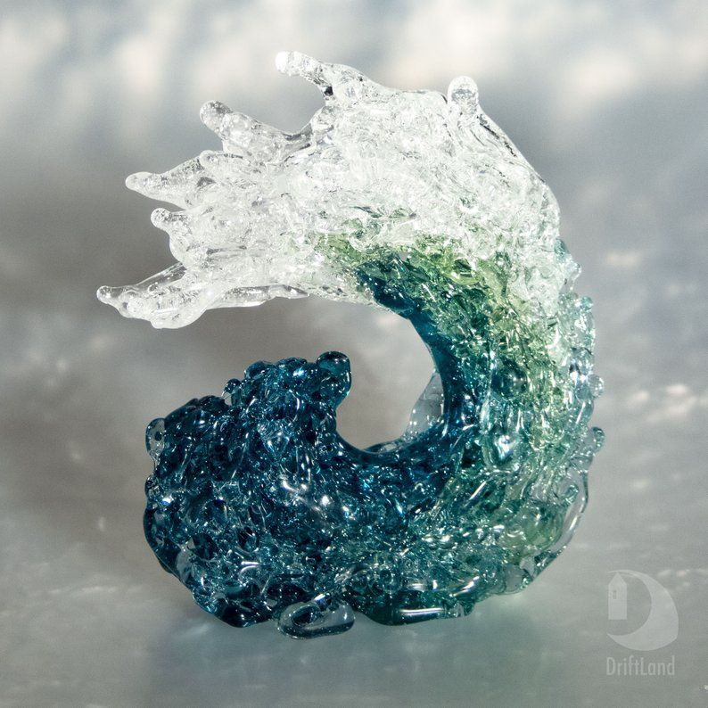 Teal Ocean Wave • Glass Art Sculpture for Home Decor